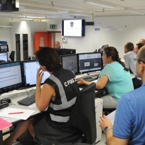 Il settore Centro d'annuncio e di analisi della situazione (CAS) al lavoro