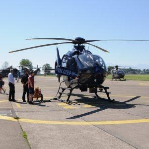L'hélicoptère allemand dans la zone de départ.