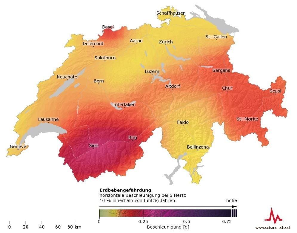 Eine Schweizer Karte, auf der die Erdbebengefährdungsgebiete eingezeichnet sind.