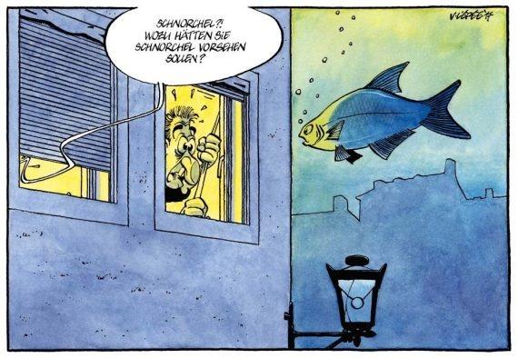 Bild zeigt Karikatur mit Fisch und Mann unter Wasser.