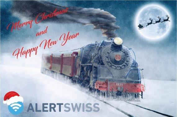 Une photo avec une illustration de Noël et le logo d'Alertswiss