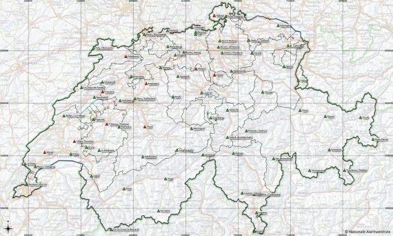 Karte der Standorte des NADAM-Netz