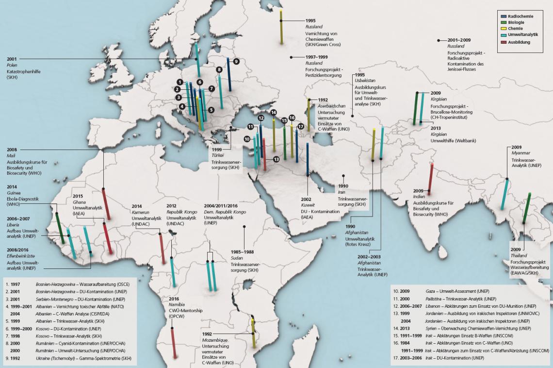 Die Grafik zeigt über zwei Seiten, in welchen Ländern Europas, Afrikas und Asiens das Labor Spiez zwischen 1984 und 2017 Missionen erfüllt hat.