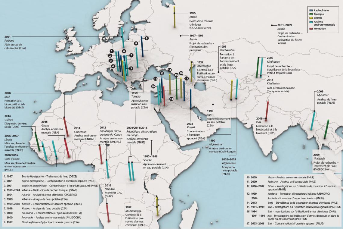 Carte sur deux pages indiquant les pays d'Europe, d'Afrique et d'Asie où le Laboratoire de Spiez a accompli des missions entre 1984 et 2017