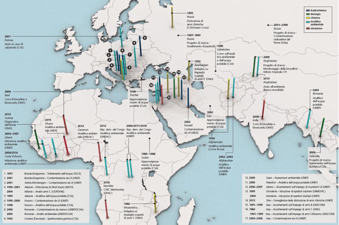Un grafico illustra su due pagine i Paesi europei, africani e asiatici in cui il Laboratorio Spiez ha svolto delle missioni dal 1984 a oggi.