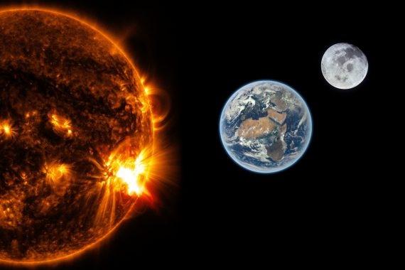 Bild zeigt Satellitenbild der Sonne, Erde und des Mondes.