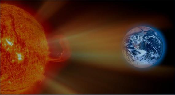 Satellitenbild mit der Sonne und der Erde