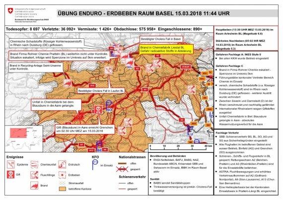 Hier sieht man eine Lagekarte, auf der die fiktive Situation im Raum Basel nach den Erdbeben abgebildet wird.