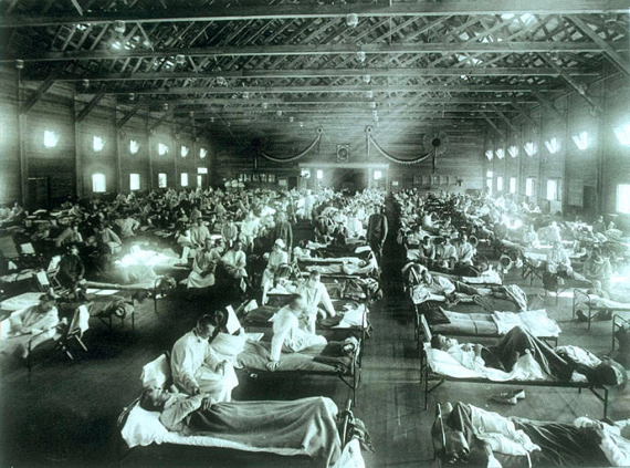 Ospedale militare d'emergenza durante l'influenza spagnola 1918