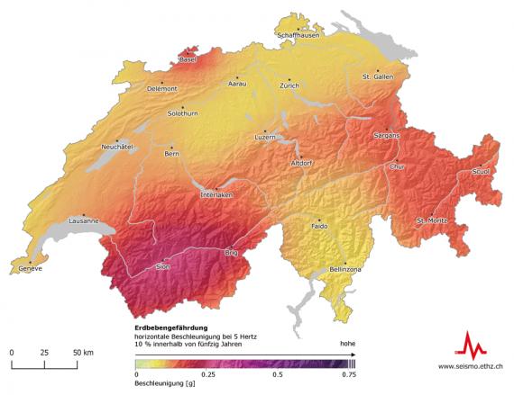 Erdbebenland Schweiz: Die Erdbebengefährdung besteht im ganzen Land, mit höherer Eintretenswahrscheinlichkeit im Wallis, Basel, Graubünden, der Zentralschweiz und dem St. Galler Rheintal.