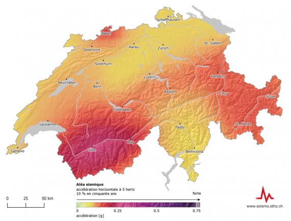 La terre tremble en Suisse: l'aléa sismique concerne l'ensemble du pays. Le Valais, Bâle, les Grisons, la Suisse centrale et la vallée du Rhin saint-galloise sont les régions qui présentent le risque sismique le plus élevé.