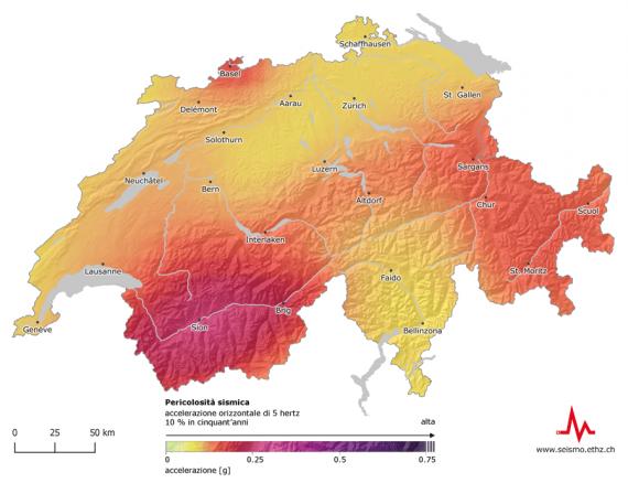 Mappa sismica della Svizzera: il rischio sismico esiste in tutto il Paese con una maggiore probabilità d'occorrenza in Vallese, a Basilea, nei Grigioni, nella Svizzera centrale e nella valle del Reno di San Gallo.