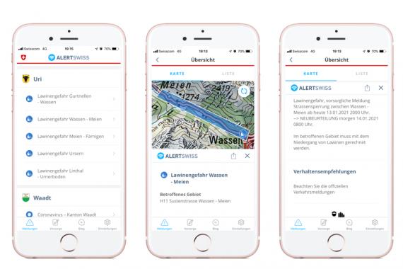 Schermata dell'app Alertswiss con cinque notifiche su chiusure stradali per pericolo di valanghe nel Canton Uri.