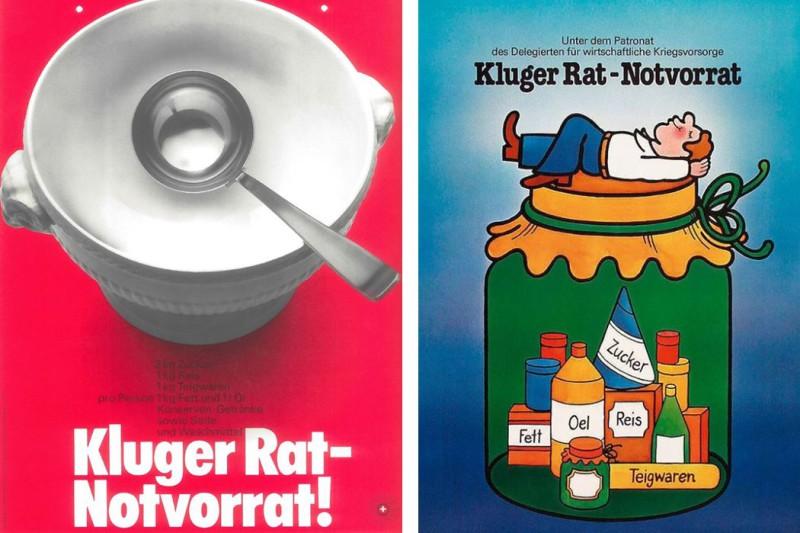 Der Slogan «Kluger Rat - Notvorrat» ist schon über 50 Jahre alt. Plakate von 1968 und 1980.