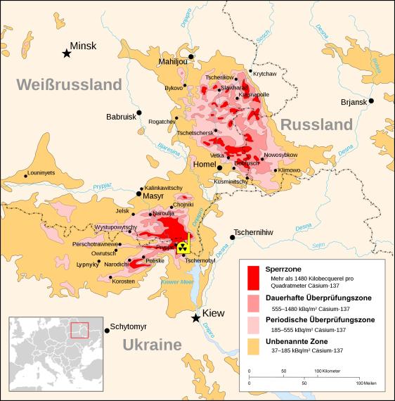 Karte Sperrzone Tschernobyl