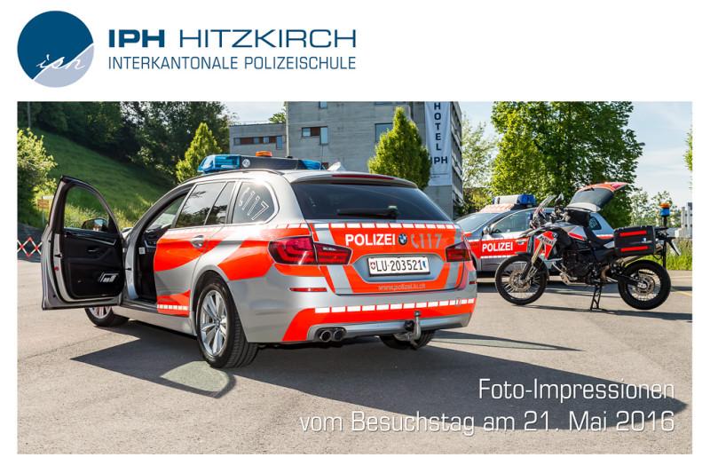 Das Bild zeigt das Logo der Interkantonalen Polizeischule Hitzkirch, sowie ein Foto divreser Einsatzfahrzeuge der Polizei. Unten Links stehen die Worte Foto-Impressionen vom Besuchstag am 21. Mai 2016. Ein Klicken auf das Bild führt Sie zu einer Bildergalerie mit weiteren Fotos des Besuchstags.