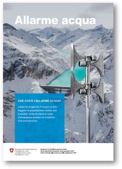 Sulla copertina del volantino sull'allarme acqua è raffigurato un paesaggio alpino con una diga. In primo piano si vede una sirena.