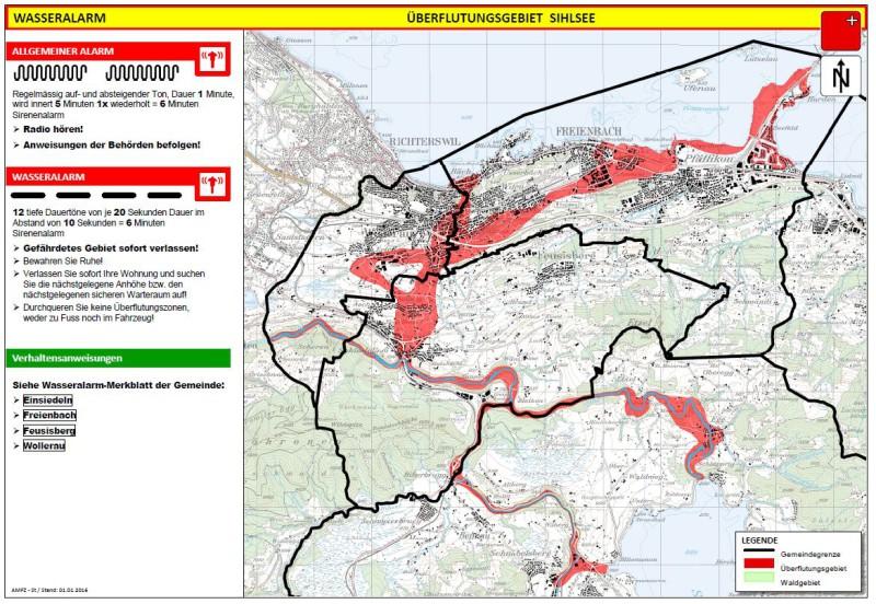 Die Wasseralarm-Merkblätter zeigen auf einer Karte die gefährdeten Gebiete.