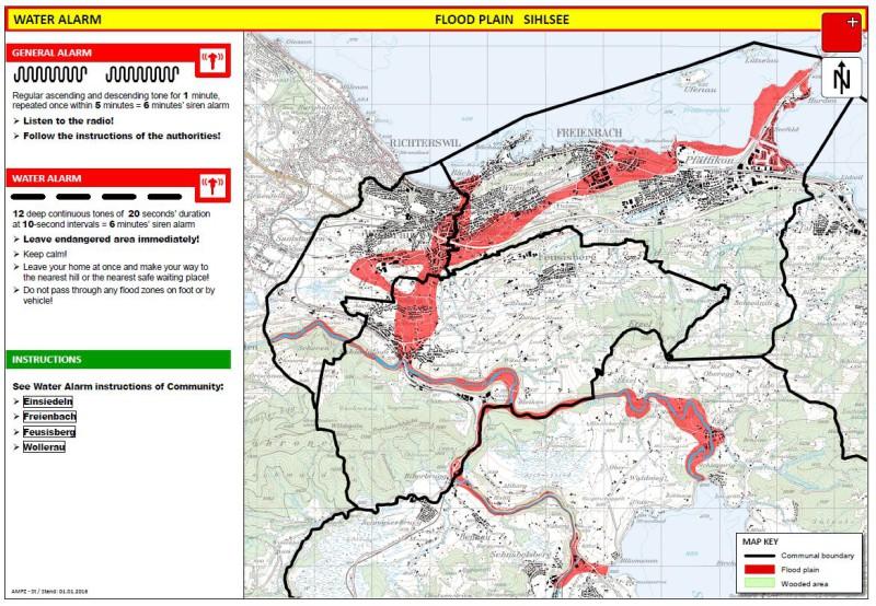 I promemoria sull'allarme acqua mostrano le zone minacciate su una cartina.