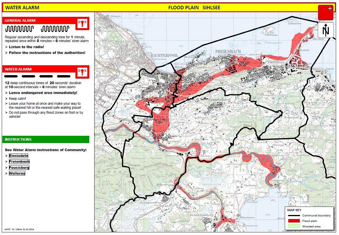Les zones menacées sont représentées sur les cartes des aide-mémoire concernant l'alarme eau.