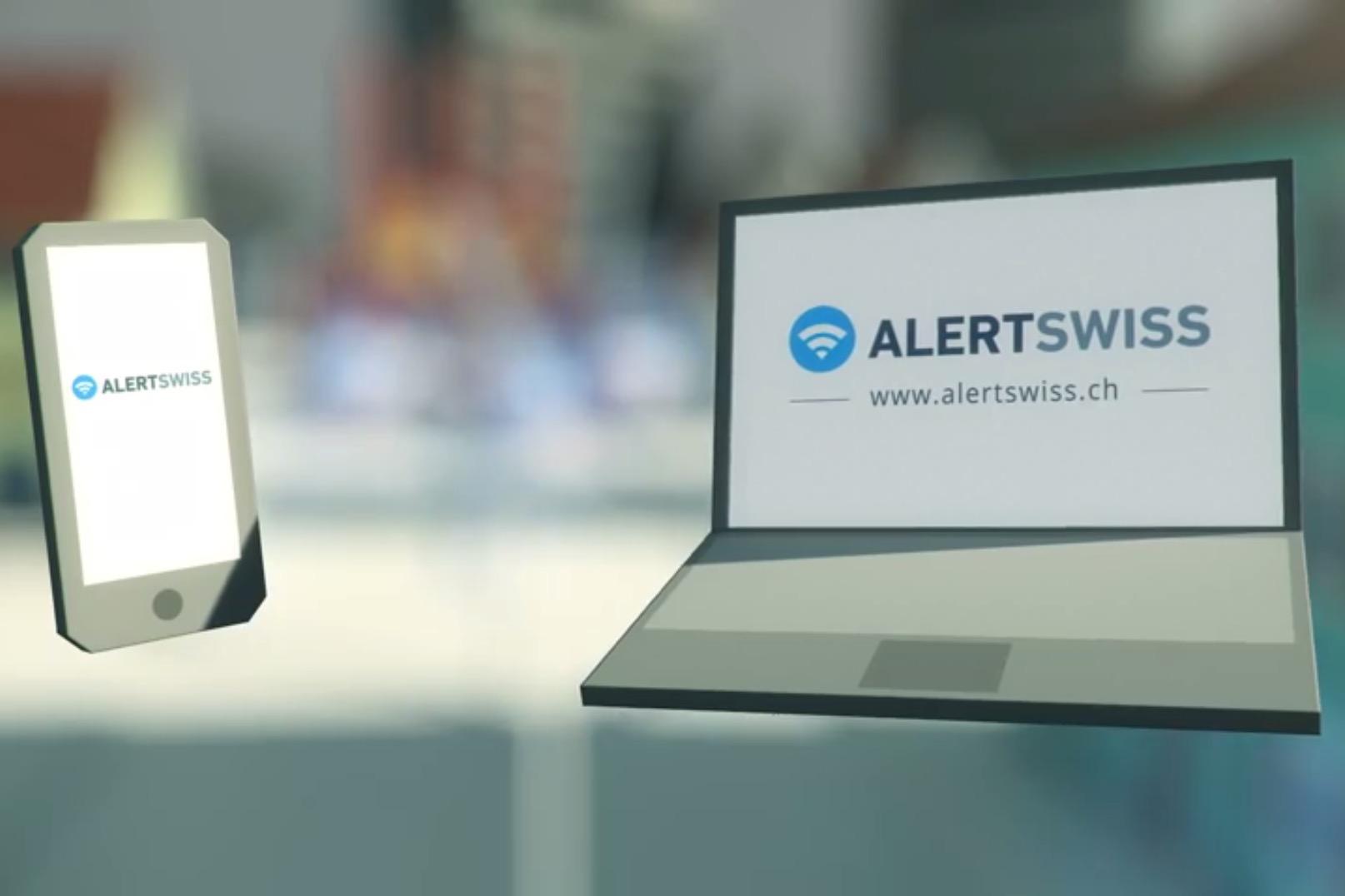 L'immagine mostra uno smartphone e un computer con il logo di Alertswiss sullo schermo.