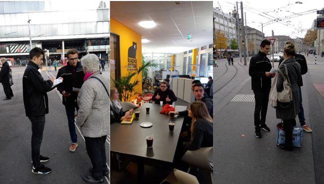 Die Bildcollage zeigt drei Bilder. Auf den beiden Bildern links und rechts sind Lernende des BABS fotografiert, die auf der Strasse beim Bahnhof Bern Passanten befragen. Das mittlere Bild zeigt die Gruppe Lernenden im Studio von Radio Bern 1. Sie sitzen um einen Tisch und trinken Kaffee und sprechen miteinander.