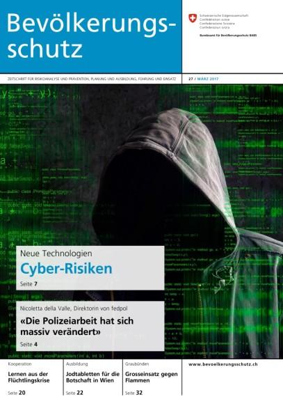 """Das Titelbild der neuen Ausgabe """"Bevölkerungsschutz"""" mit dem Hauptthema Cyber-Risiken"""